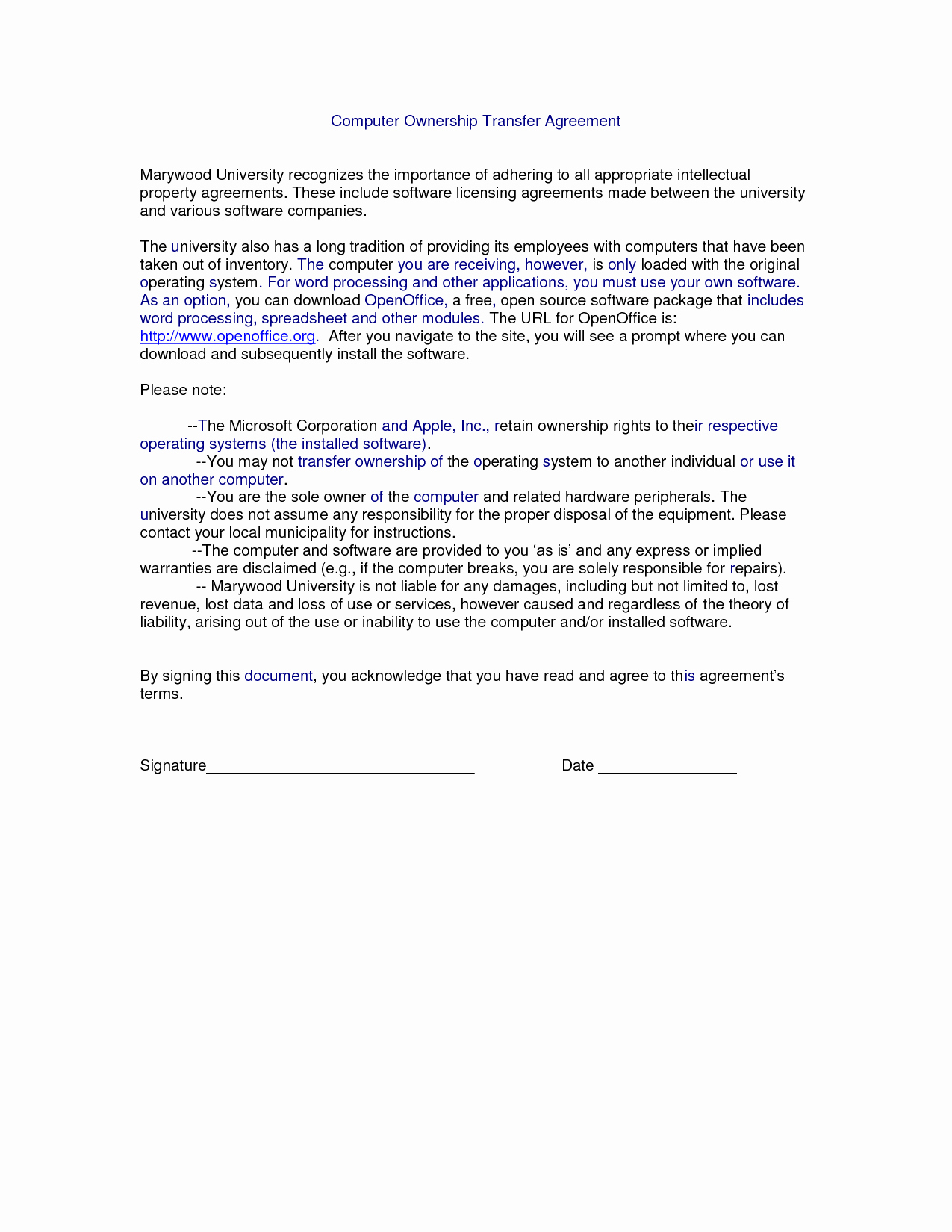 post property transfer agreement template