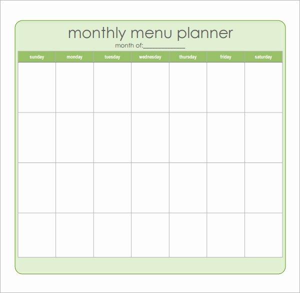 8 Best Of Sample Monthly Menu Planner Printable