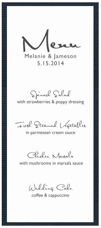 picture relating to Printable Menu Template named 8 Least difficult Of Wedding day Menu Card Templates Printable Latter