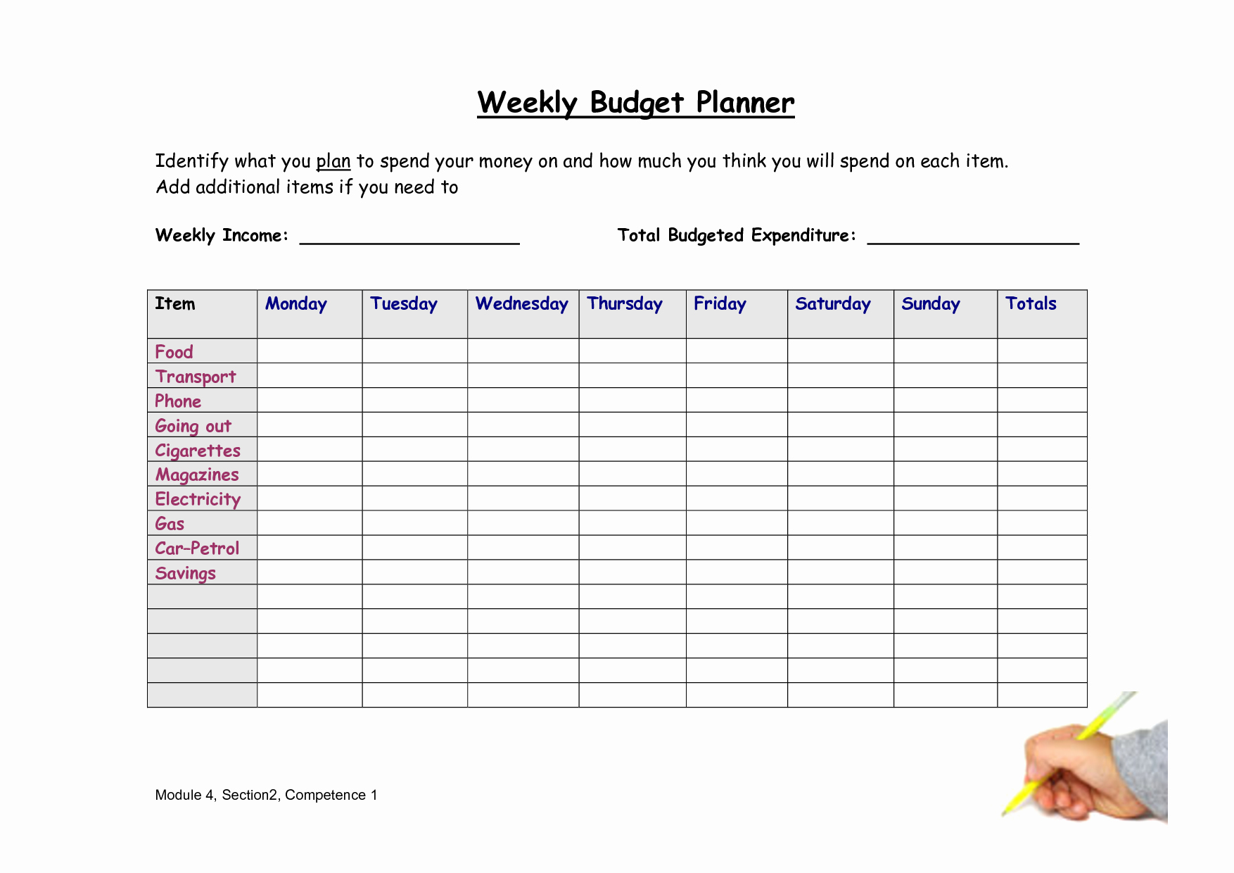 8 Best Of Weekly Bud Worksheet Free Printable