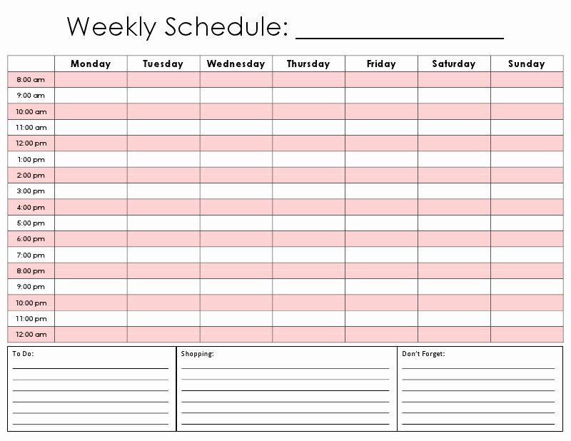 graphic regarding Hourly Calendar Printable identified as 8 Great Of Weekly Hourly Calendar Printable No cost Latter