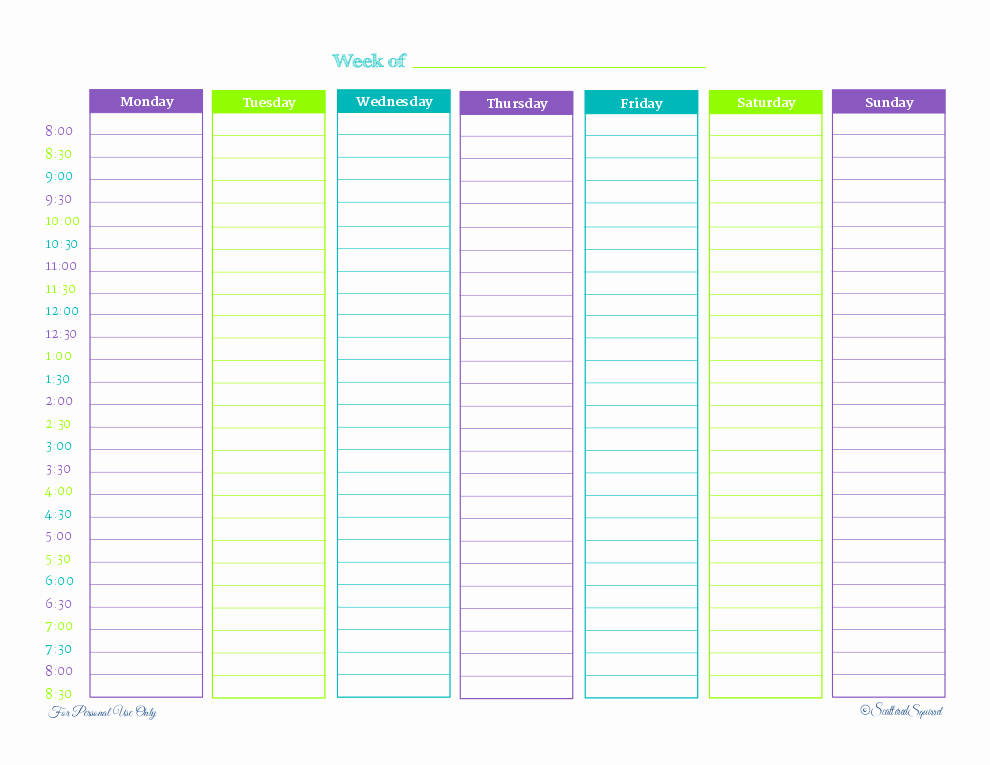 image relating to Printable Hourly Calendar called 8 Perfect Of Weekly Hourly Calendar Printable Free of charge Latter