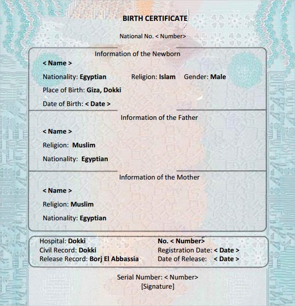 8 Birth Certificate Templates – Free Examples Samples