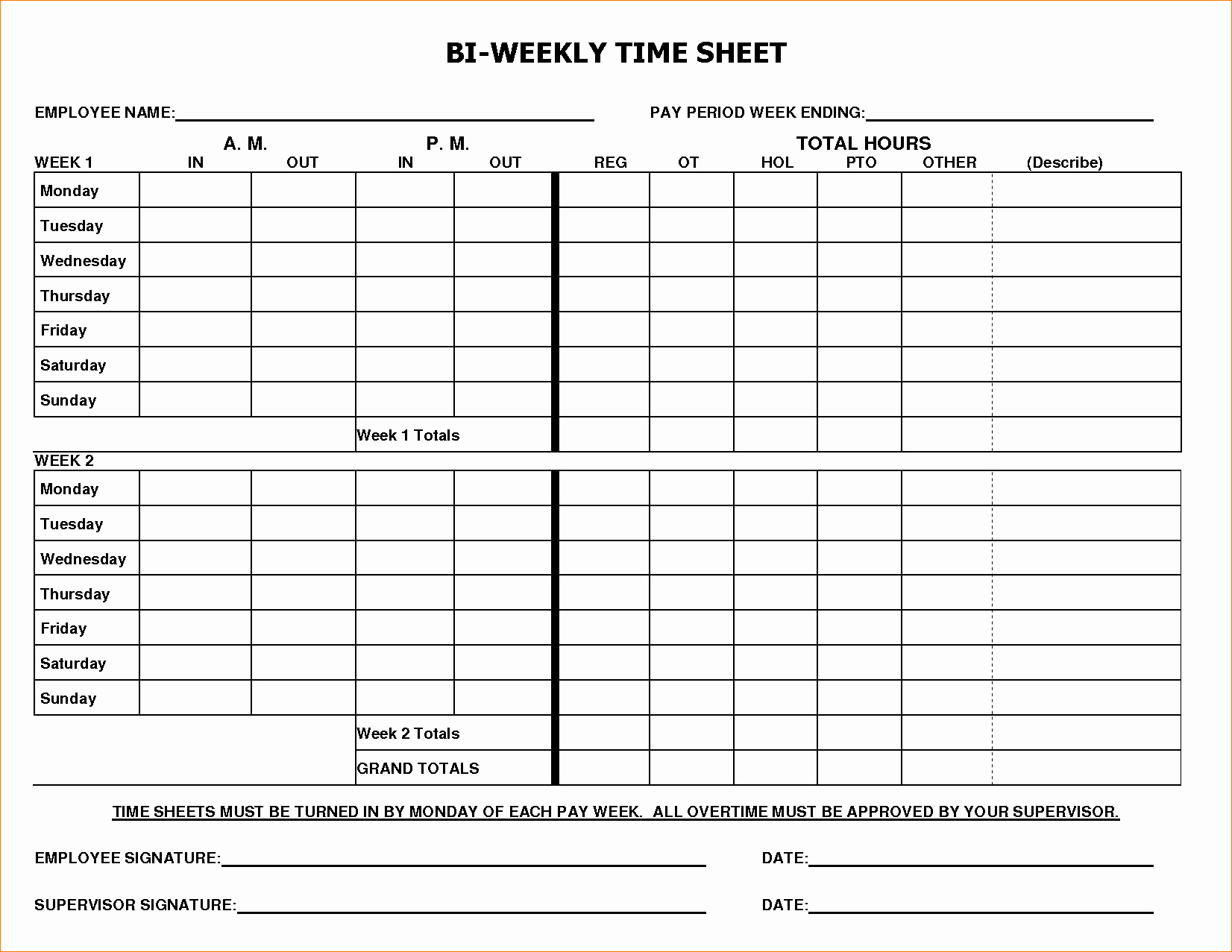 8 Biweekly Timesheet Template