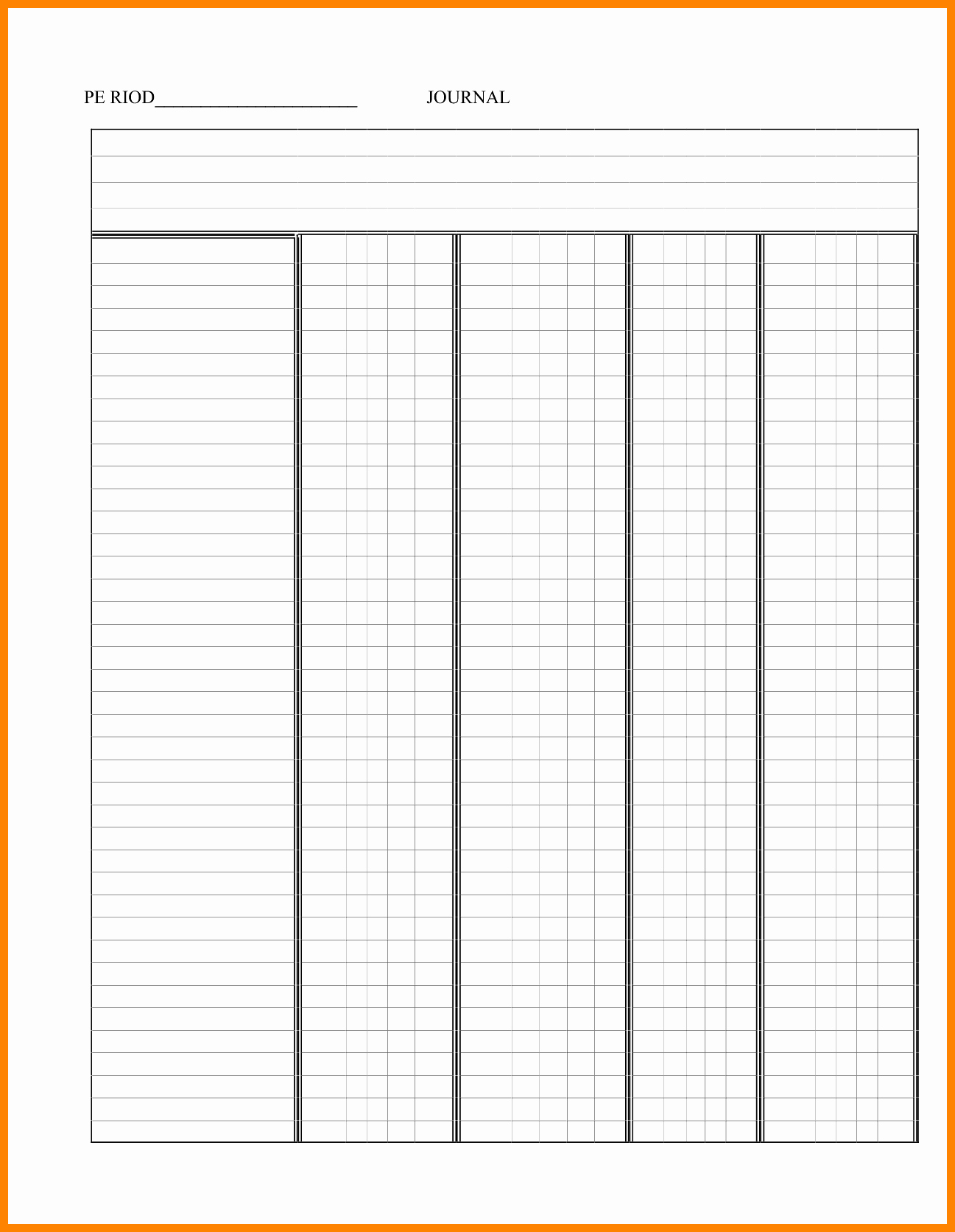 8 Blank Accounting Ledger