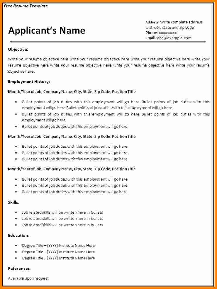 8 Blank Basic Resume Templates