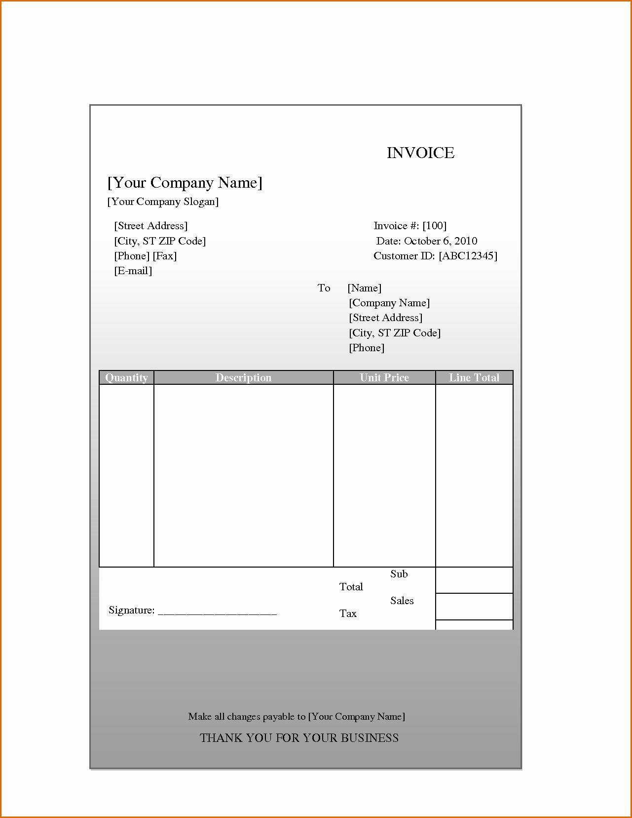 8 Blank Invoice Template Pdf