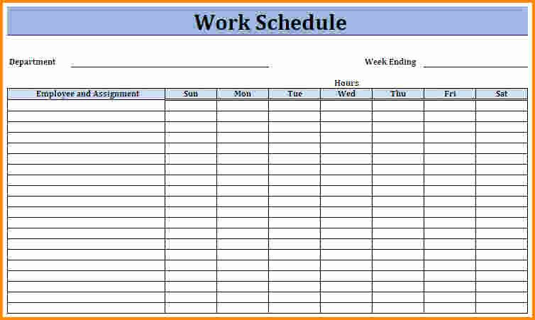 8 Blank Work Schedule Template