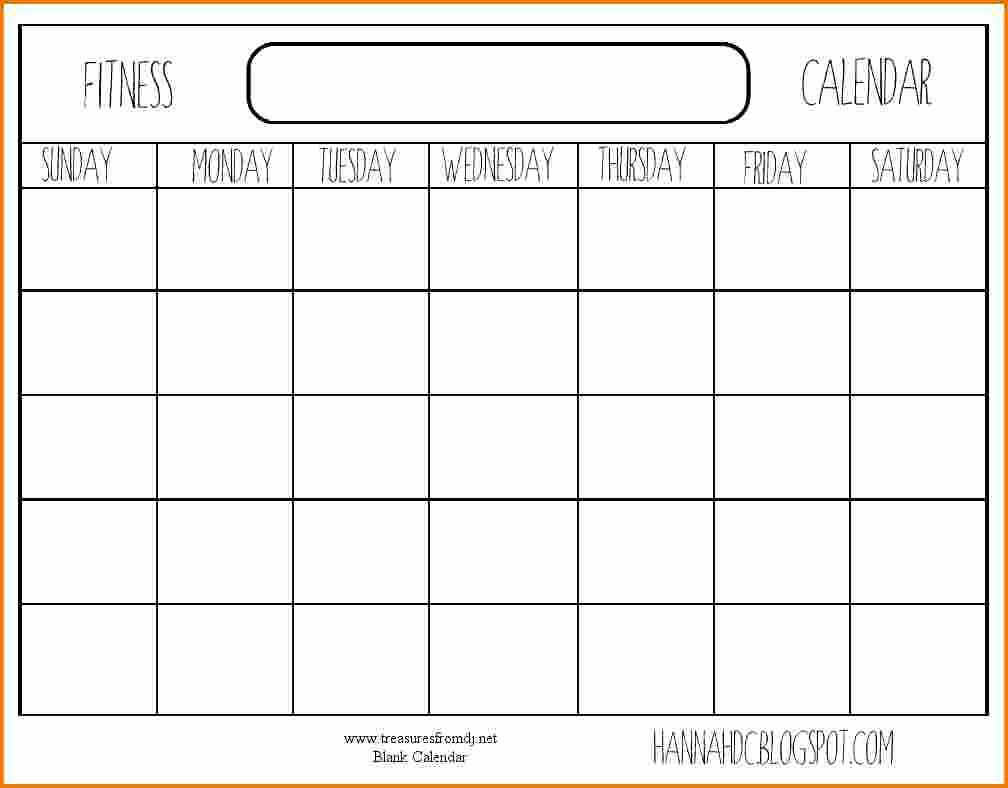 8 Blank Workout Calendar