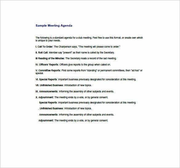 8 Business Agenda Templates Free Sample Example