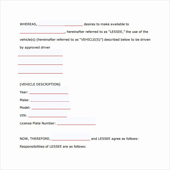 8 Car Lease Agreement Templates – Samples Examples