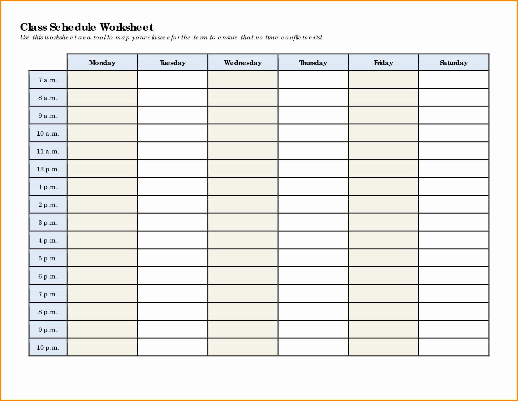 8 class schedule template