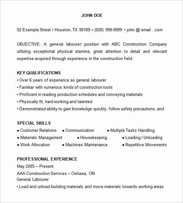 8 Construction Resume Templates Doc Pdf
