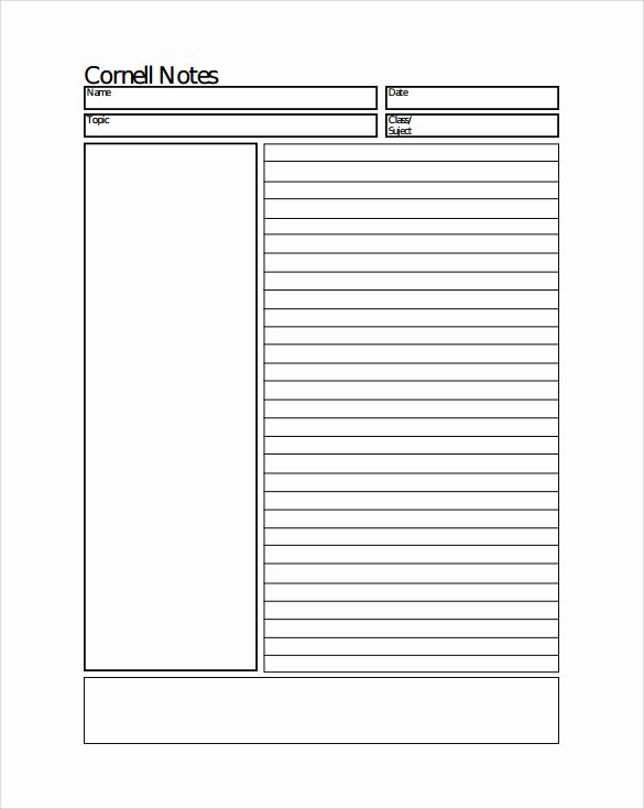 8 Cornell Notes Paper Templates