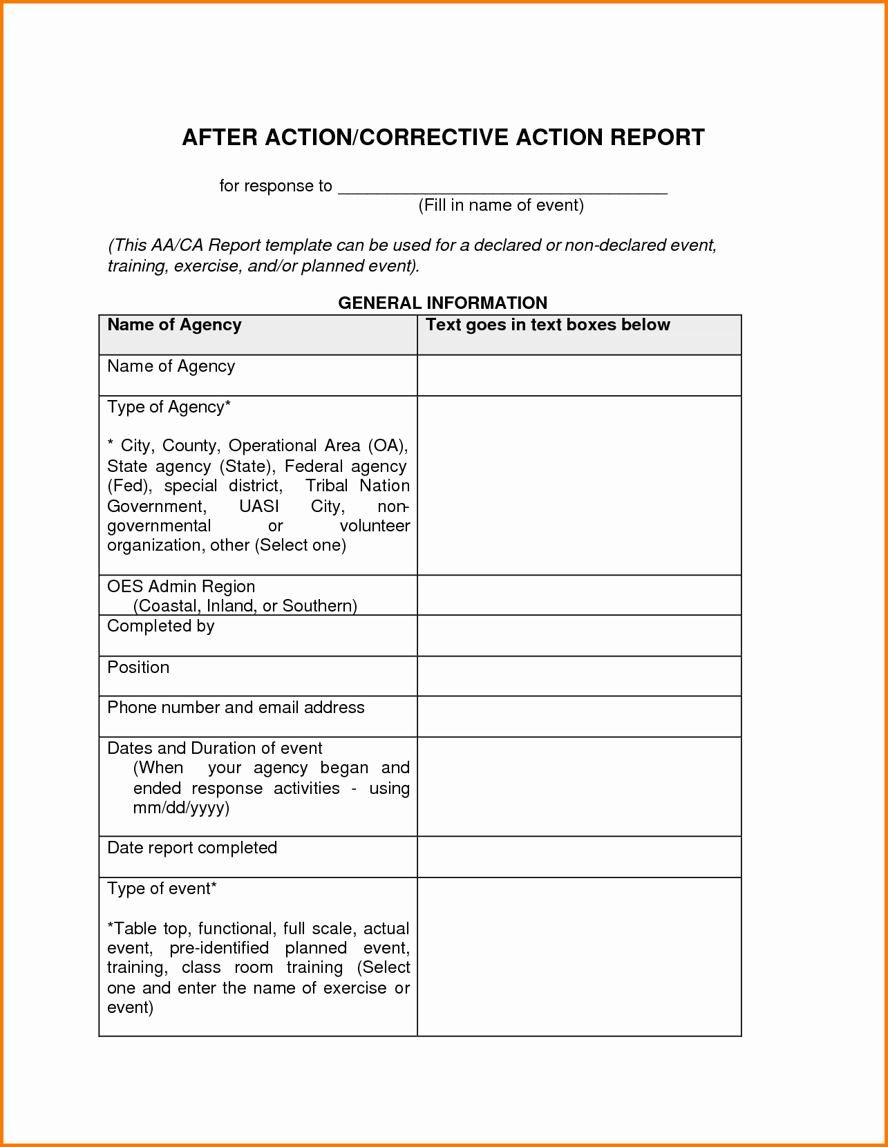 8 Corrective Action Report Template