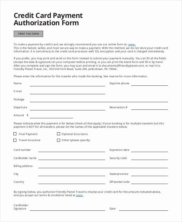 8 Credit Card Authorization form Samples
