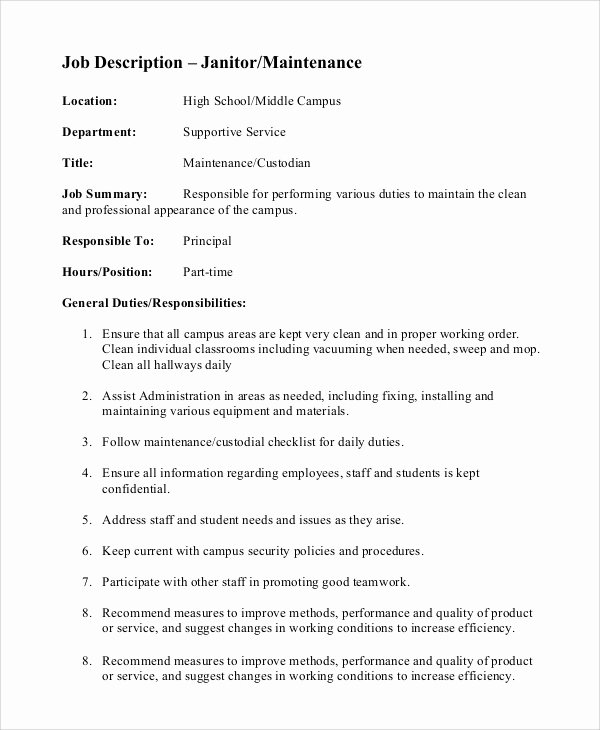 8 Custodian Job Description Samples