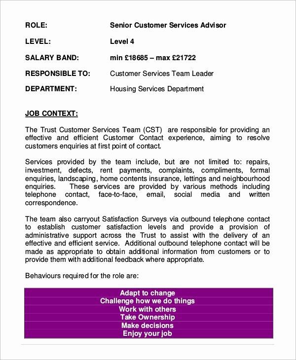 8 Customer Service Job Description Samples