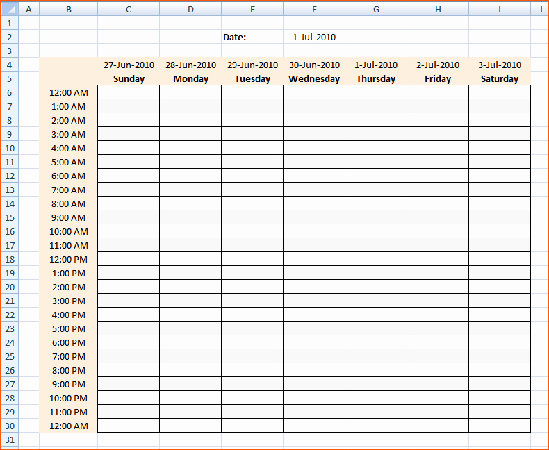 8 Daily Hourly Schedule