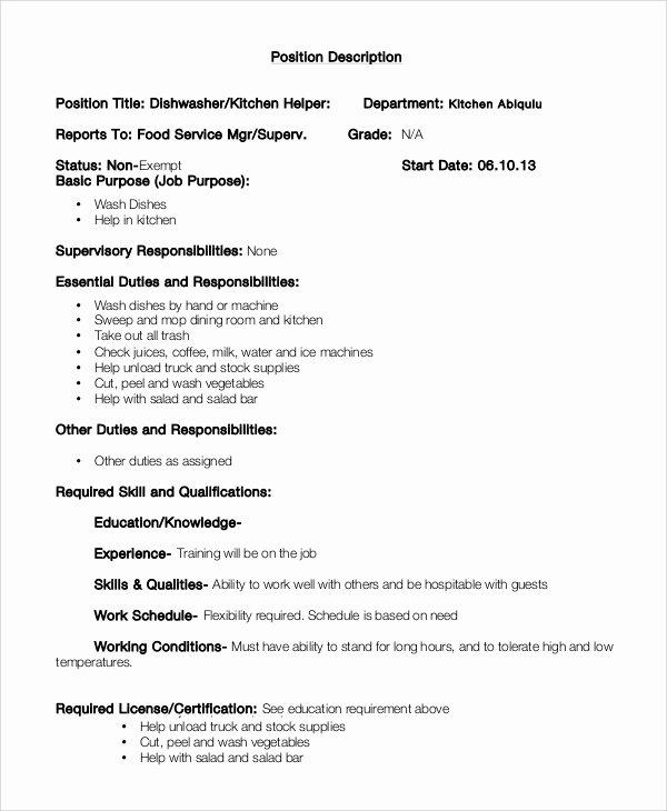 8 Dishwasher Job Description Samples