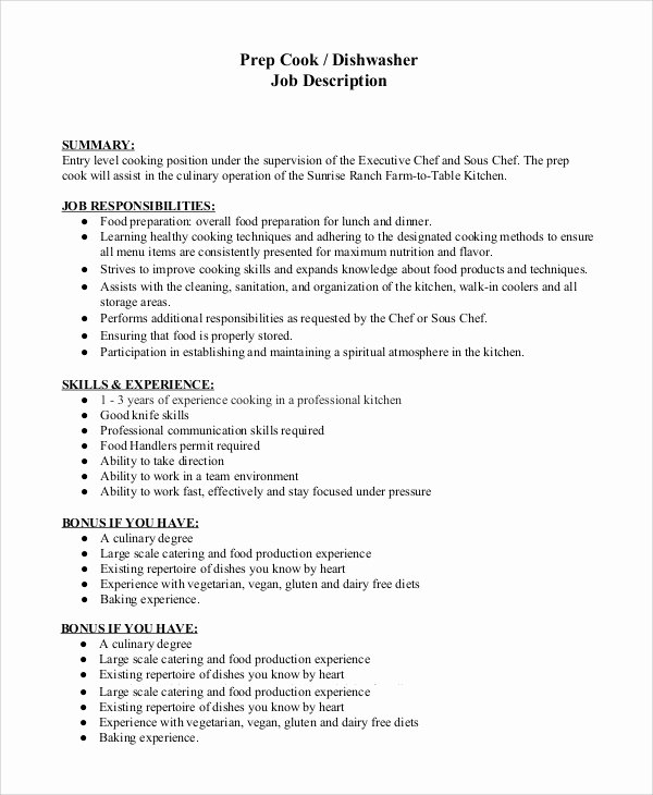 dishwasher job description for resume