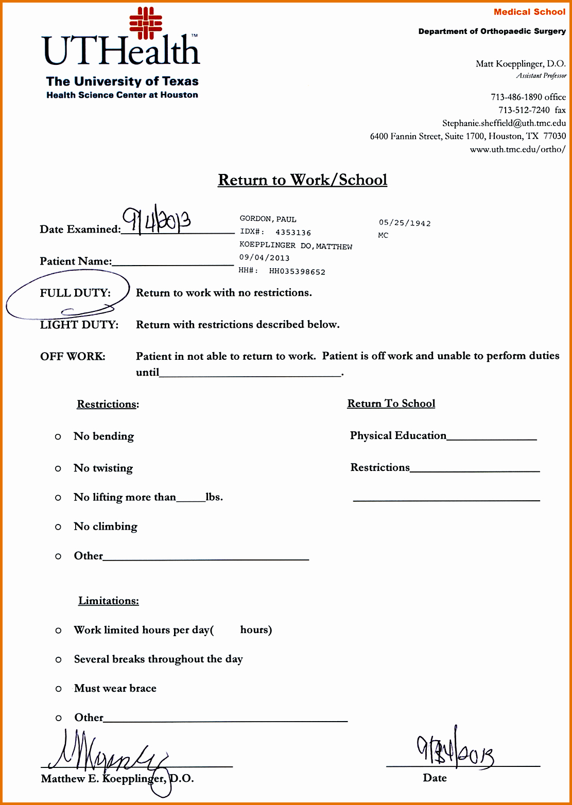 8 Doctors Note for Work Templatereference Letters Words