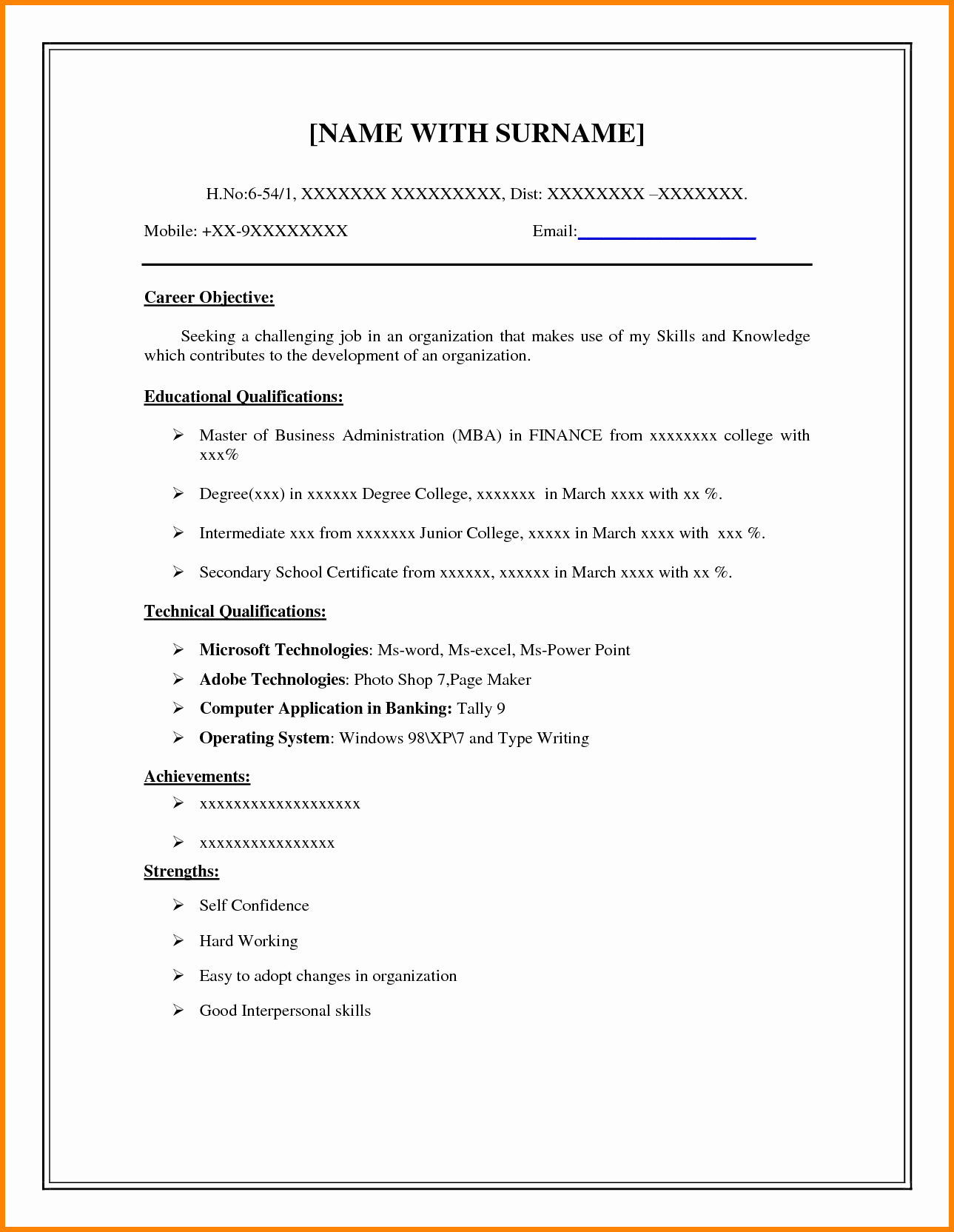 8 Easy Resume format Sample