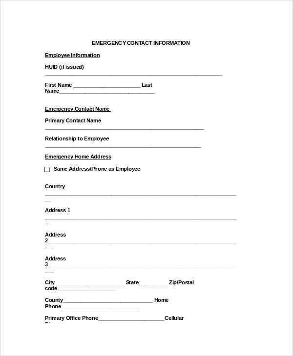 8 Emergency Contact form Samples Examples Templates