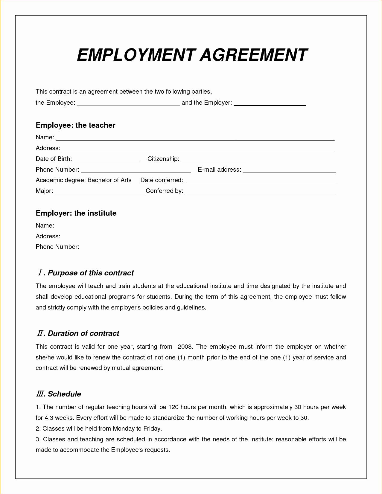 8 employee contract sample