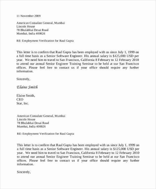 employment verification letters