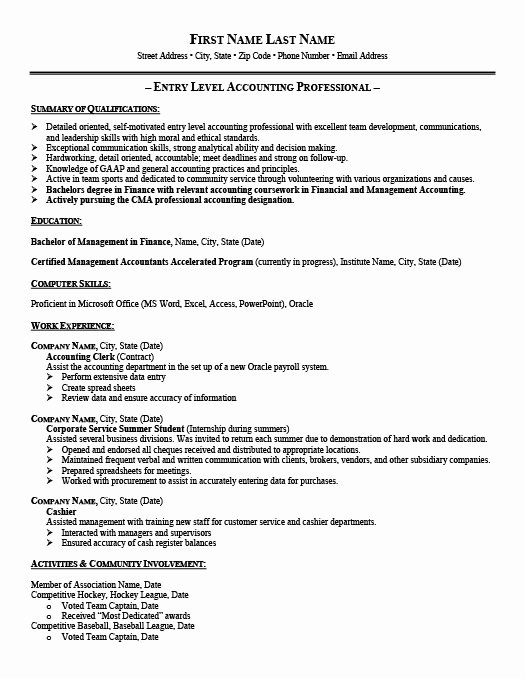 8 Entry Level Accounting Jobs Resume