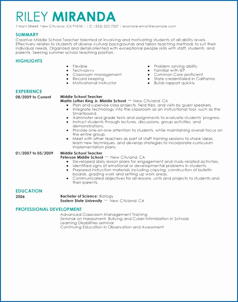 8 Entry Level Elementary Teacher Resume