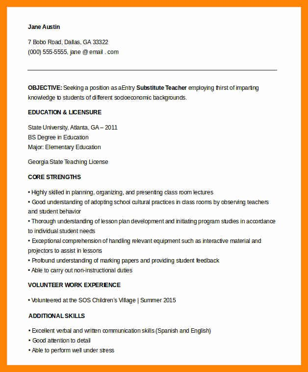 8 Entry Level Teacher Resume