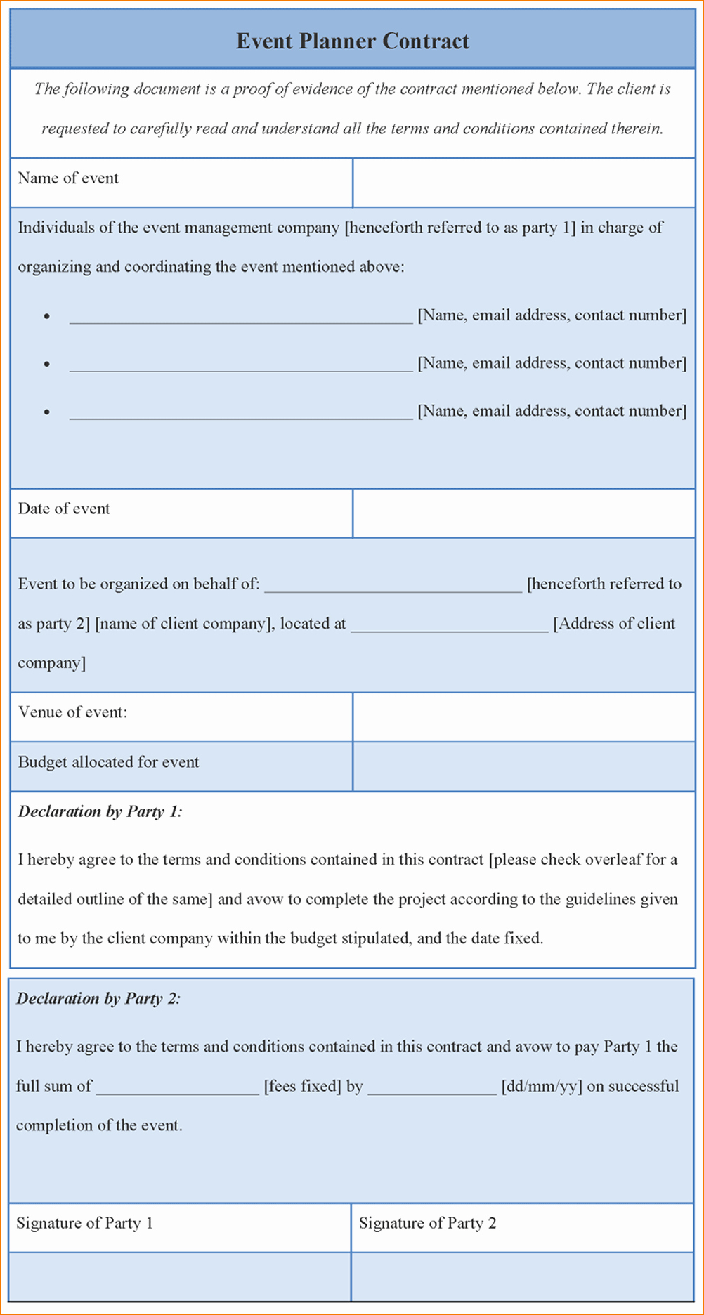 8 event Contract Template