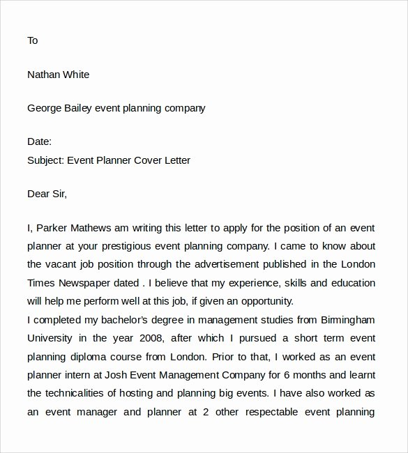 8 event Planner Cover Letters
