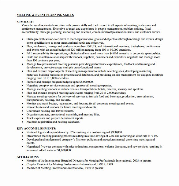 8 event Planner Resume Templates Doc Excel Pdf
