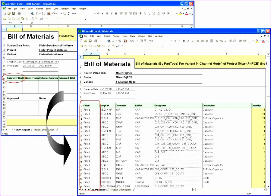 8 Excel Bill Materials Template Exceltemplates