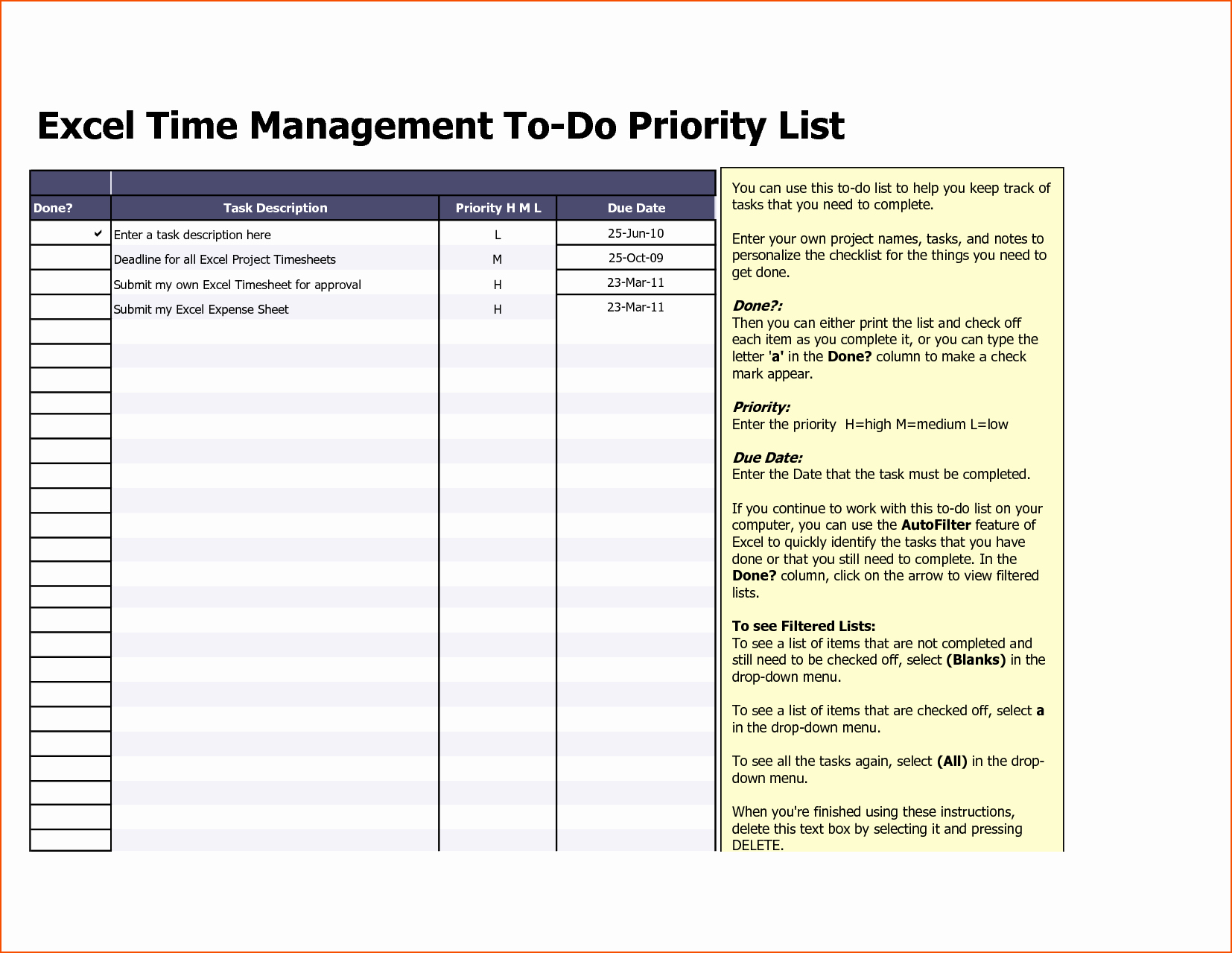 8 Excel to Do List Template Bookletemplate