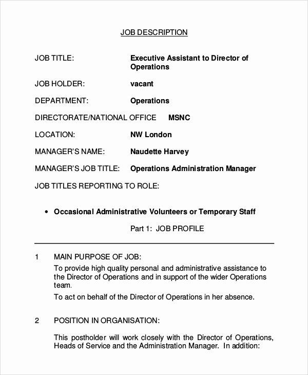 8 Executive assistant Job Description Samples