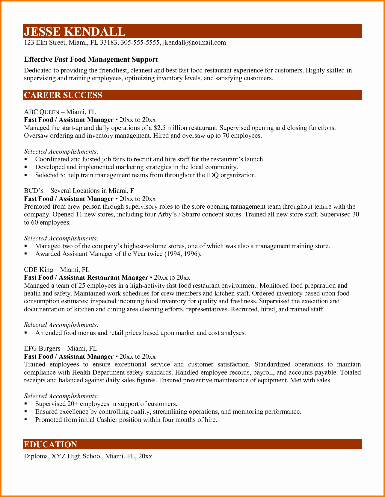 8 Fast Food Manager Resume
