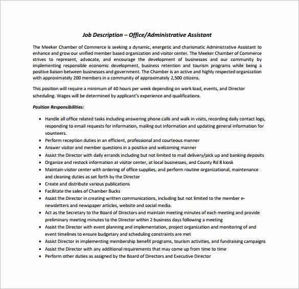 8 Fice assistant Job Description Templates