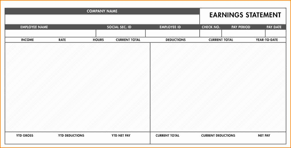 8 Fillable Paycheck Stub Template