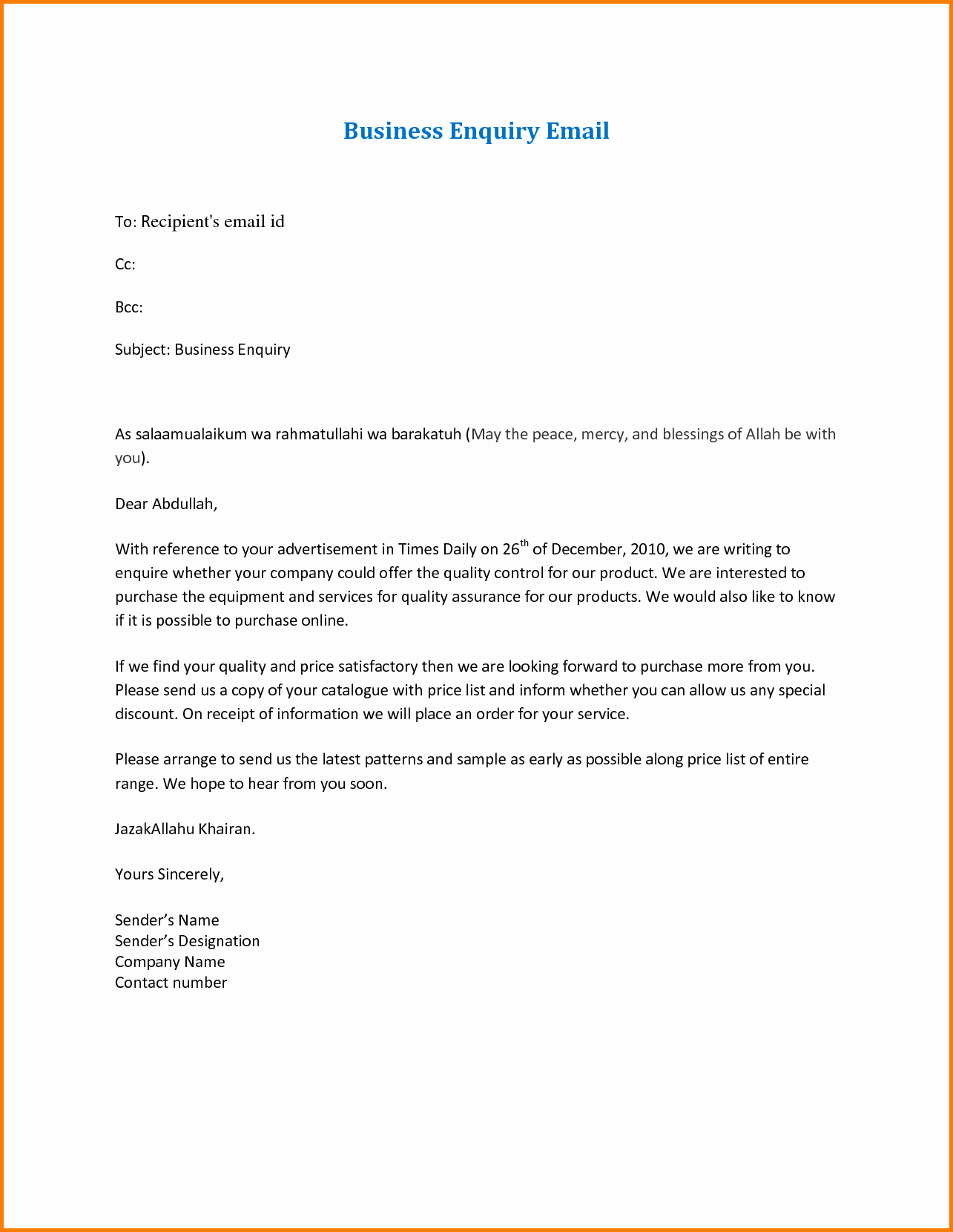 8 formal Business Email format Sample