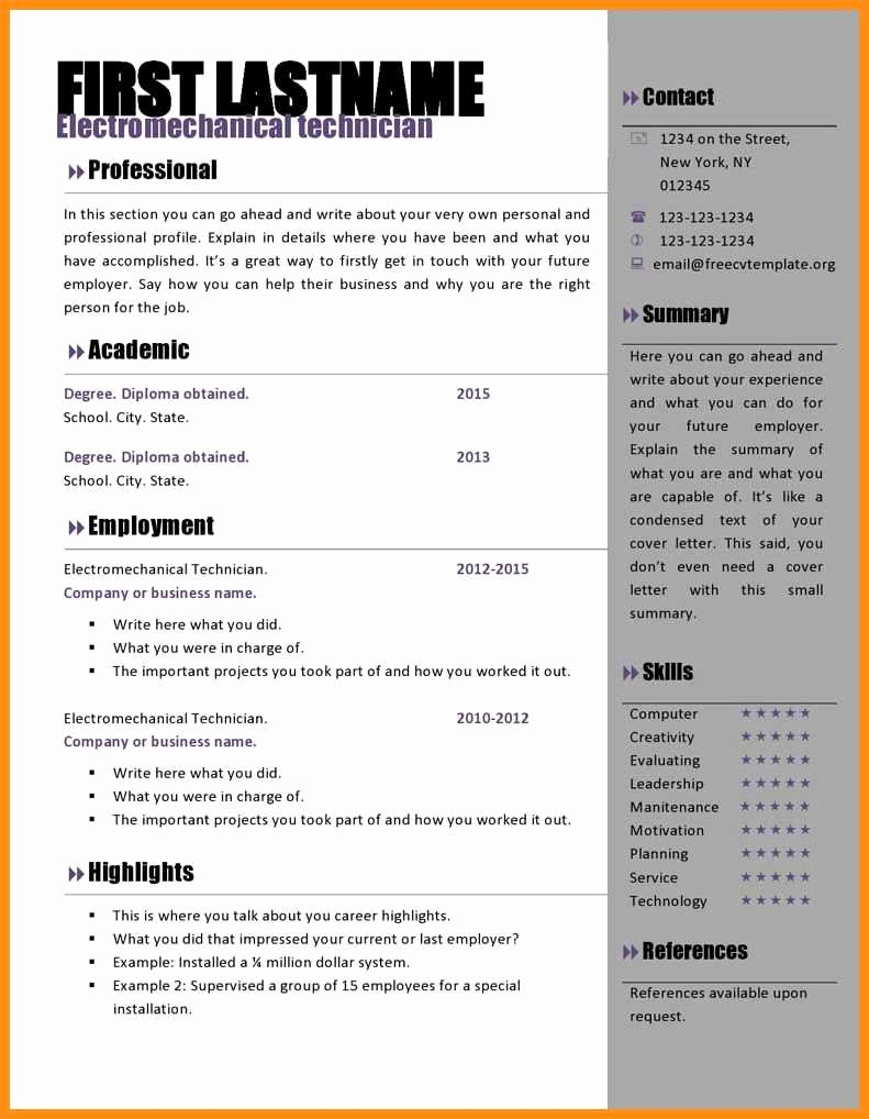 8 Free Cv Template Microsoft Word