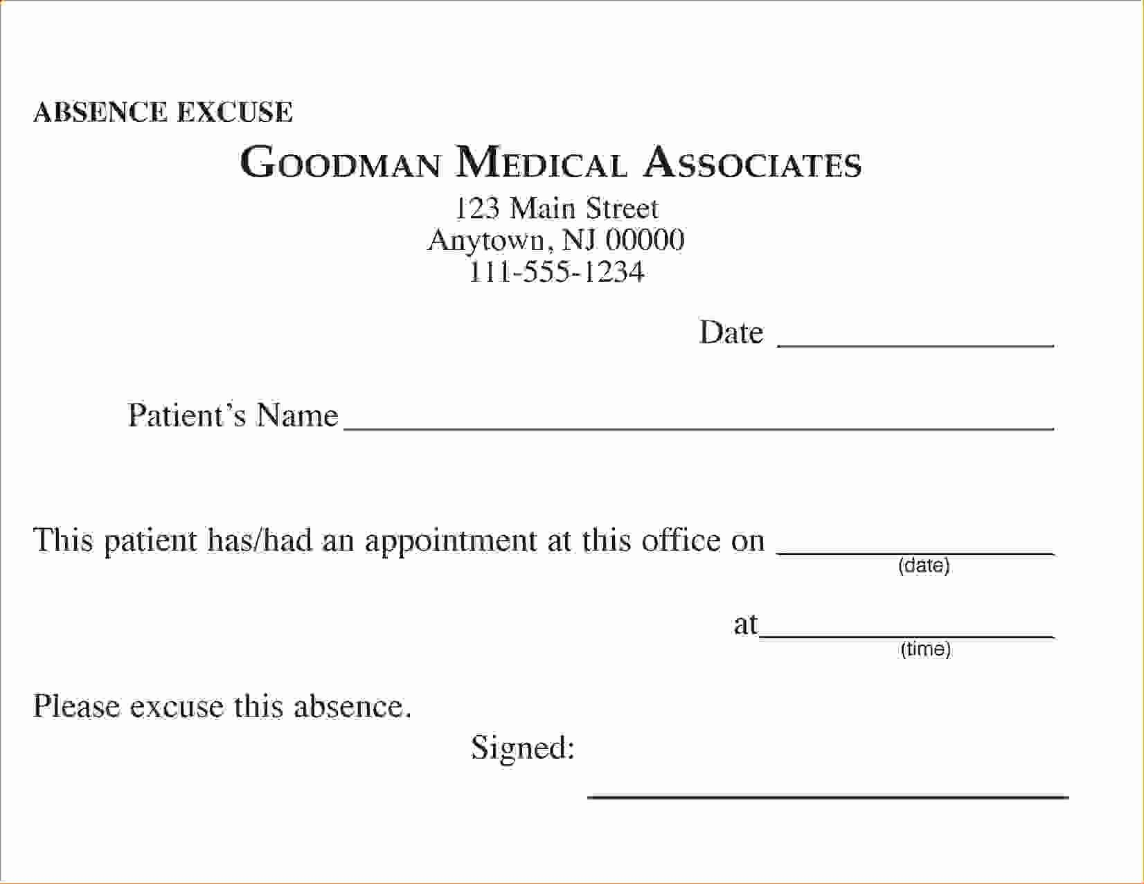 8 Free Printable Doctors Excuse for Workagenda Template