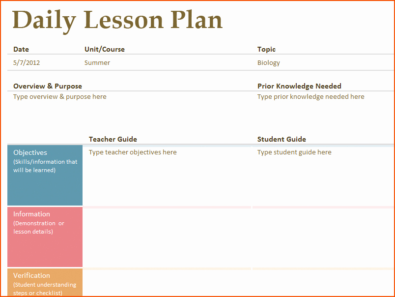8 Free Printable Lesson Plan Template Bookletemplate