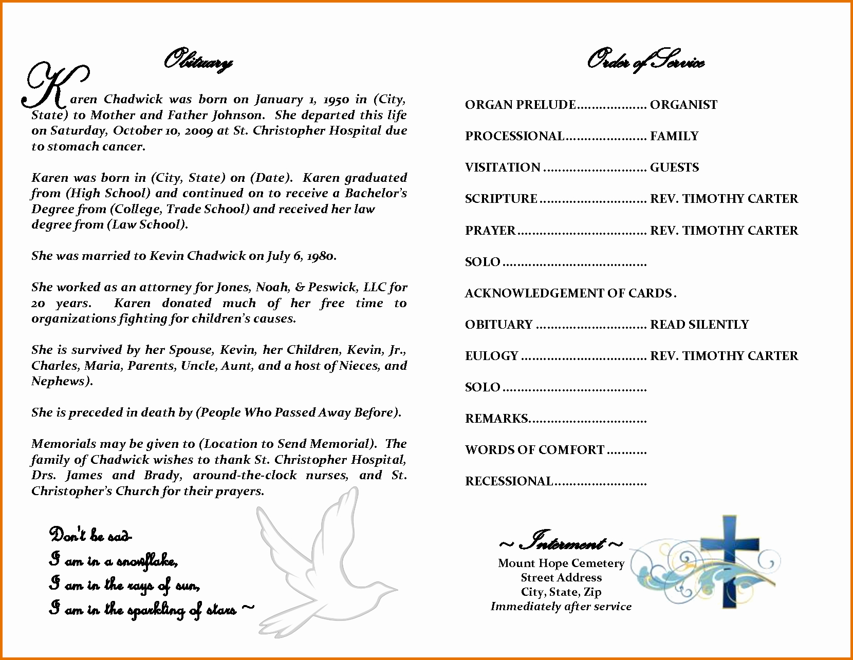 8 Free Printable Obituary Templatesreference Letters