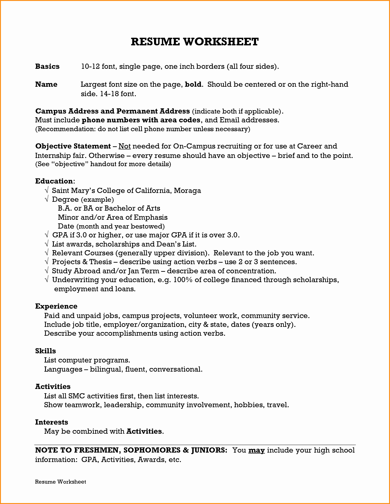 8 Freshman College Resume Template