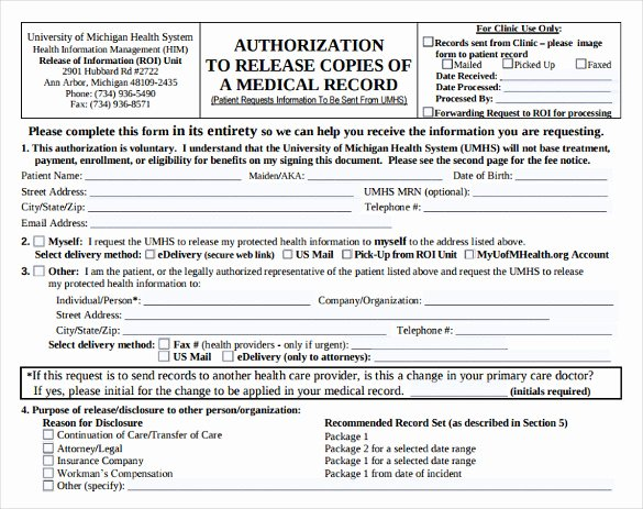8 Generic Medical Records Release form
