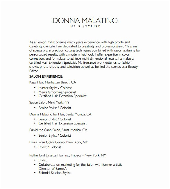 8 Hair Stylist Resume Templates Doc Excel Pdf
